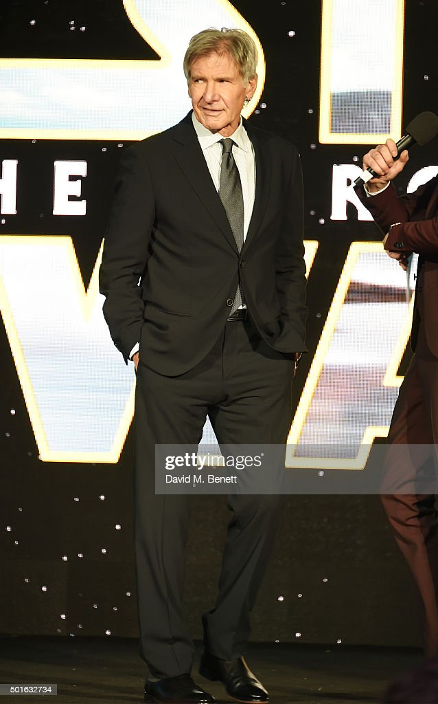 Harrison Ford attends the European Premiere of 'Star Wars: The Force Awakens' in Leicester Square on December 16, 2015 in London, England.