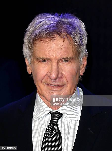 Harrison Ford attends the European Premiere of Star Wars The Force Awakens at Leicester Square on December 16 2015 in London England