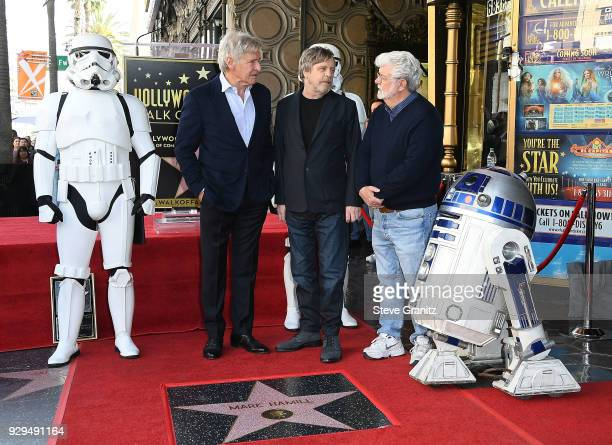 Harrison Ford George Lucas Mark Hamill Honored With Star On The Hollywood Walk Of Fame on March 8 2018 in Hollywood California