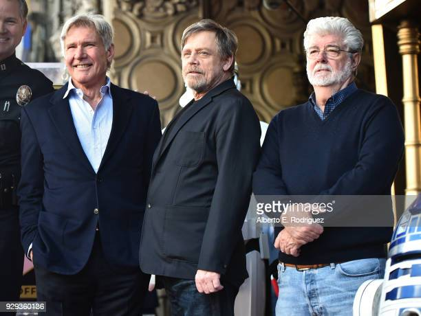 Harrison Ford Mark Hamill and George Lucas at Mark Hamill's star ceremony on the Hollywood Walk of Fame on March 8 2018 in Hollywood California