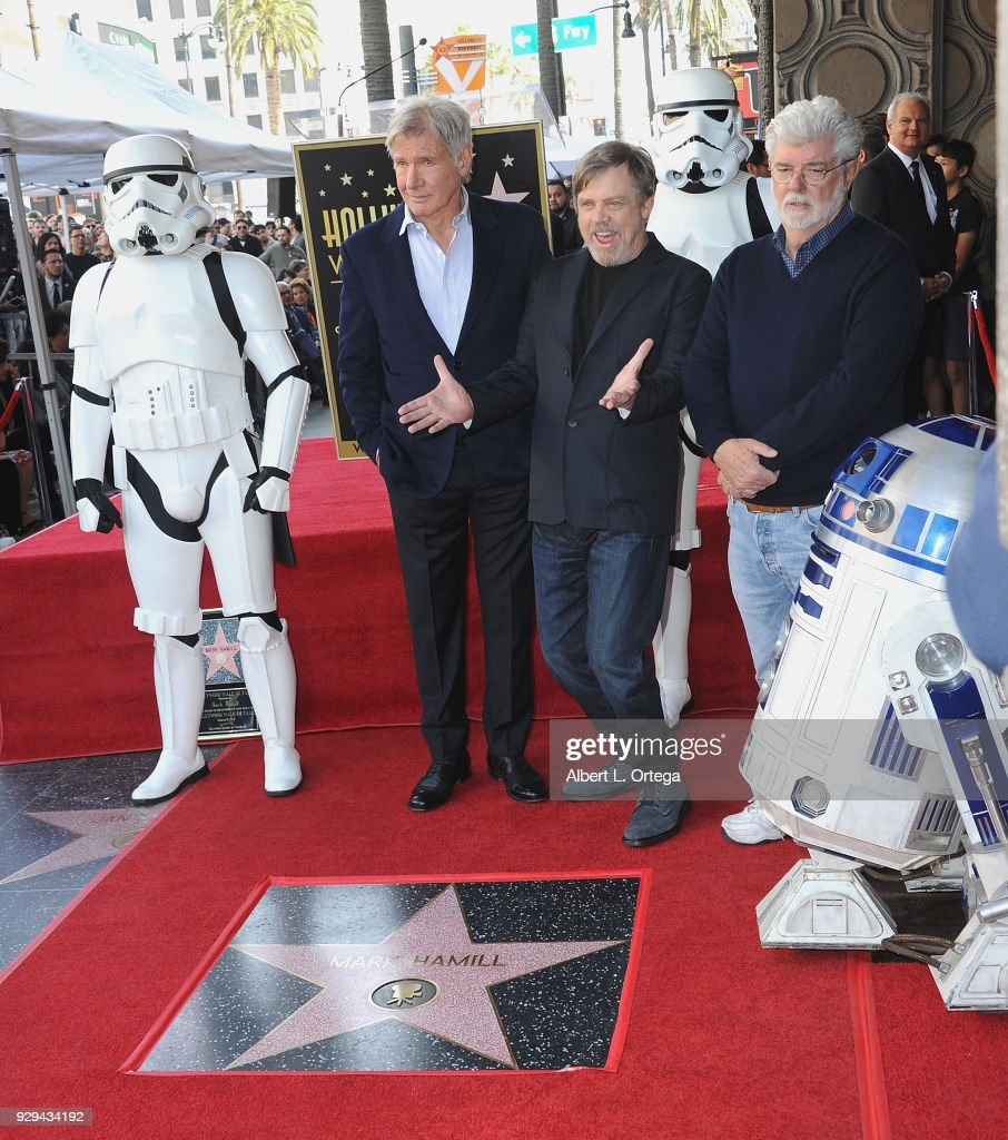 Harrison Ford, Mark Hamill and George Lucas participate in the Mark Hamill Star Ceremony held On The Hollywood Walk Of Fame on March 8, 2018 in Hollywood, California.