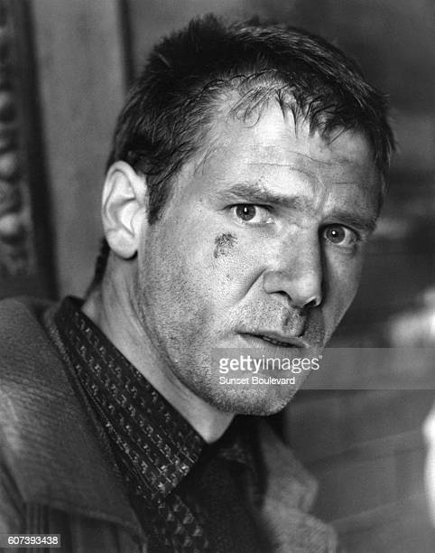 Harrison Ford on the set of 'Blade Runner' directed by Ridley Scott