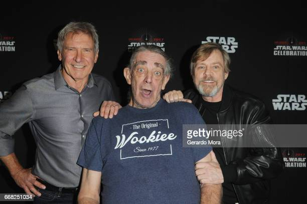 Harrison Ford, Peter Mayhew and Mark Hamill attend the 40 Years of Star Wars panel during the 2017 Star Wars Celebrationat Orange County Convention...