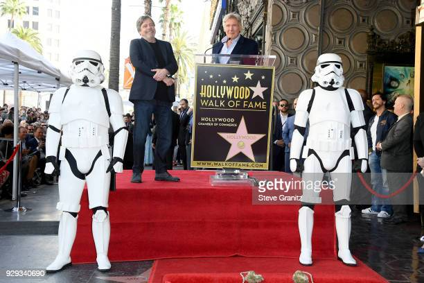 Harrison Ford speaks as Mark Hamill is honored with a star on the Hollywood Walk of Fame on March 8 2018 in Hollywood California