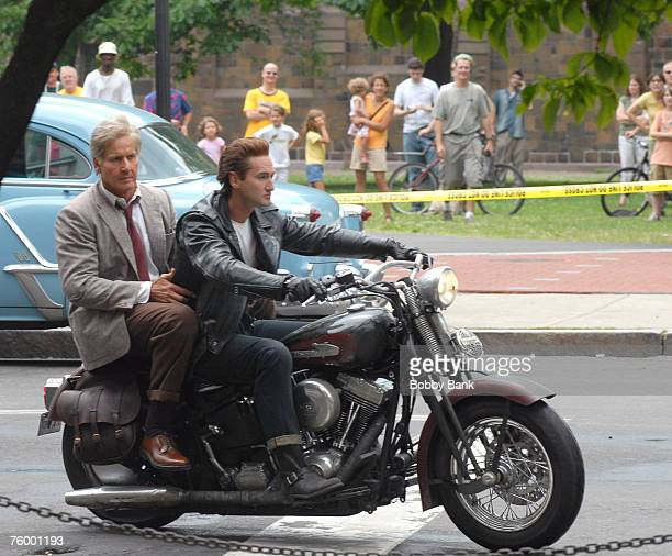 Harrison Ford stunt double and Shia LaBeouf stunt double riding a motorcycle during filming of the latest Indiana Jones movie at Yale University...