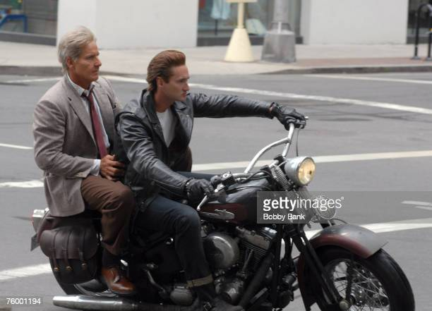 """Harrison Ford stunt double and Shia LaBeouf stunt double riding a motorcycle during filming of the latest """"Indiana Jones"""" movie at Yale University..."""
