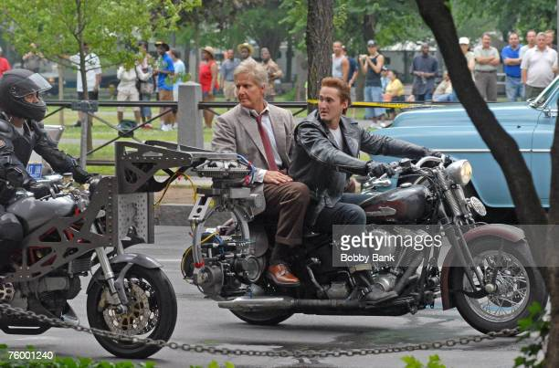 Harrison Ford stunt double and Shia LaBeouf stunt double riding a motorcycle during filming of the latest 'Indiana Jones' movie at Yale University...