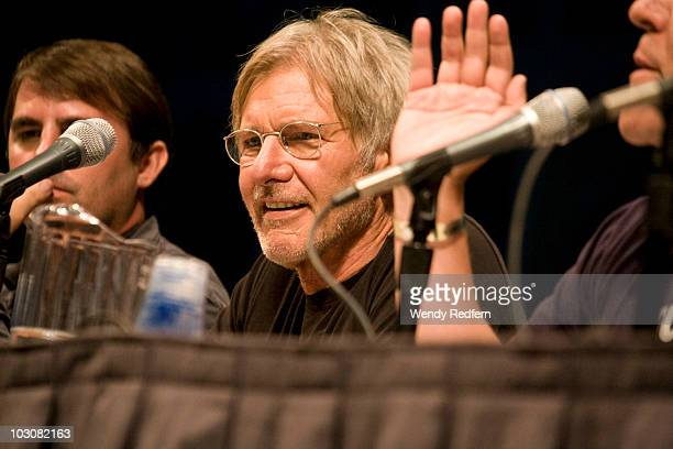 Harrison Fordspeaks at the Cowboys and Aliens panel at ComicCon on July 24 2010 in San Diego California
