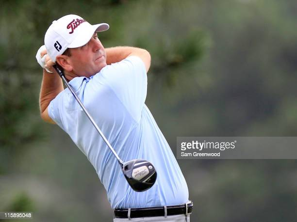 Harrison Frazar hits a shot on the 3rd hole during the third round of the FedEx St. Jude Classic at TPC Southwind on June 11, 2011 in Memphis,...