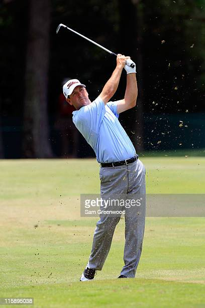 Harrison Frazar hits a shot on the 6th hole during the third round of the FedEx St. Jude Classic at TPC Southwind on June 11, 2011 in Memphis,...
