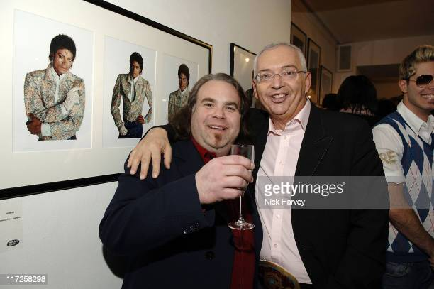 Harrison Funk and Henri Zimand during Henri Zimand and His Charity Anda's Spirit Sponsor Michael Jackson Art Exhibition at Proud Gallery in London...