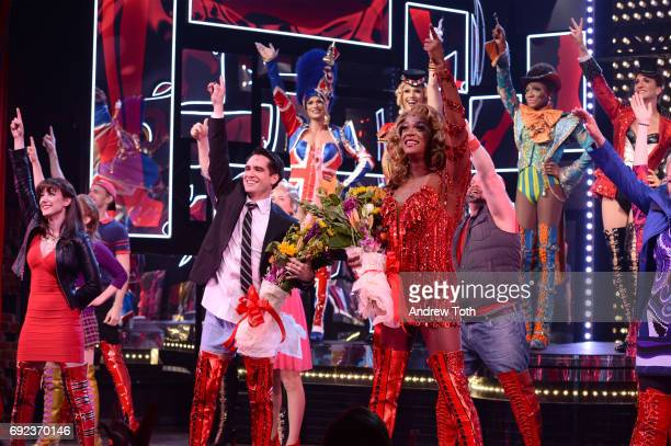 J Harrison Ghee and Brendon Urie of Panic At The Disco makes his broadway debut In Kinky Boots at Al Hirschfeld Theatre on June 4 2017 in New York...