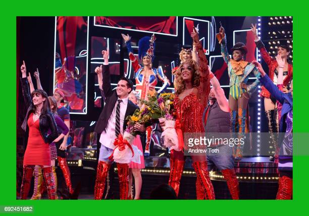 """Harrison Ghee and Brendon Urie of Panic! At The Disco makes his broadway debut In """"Kinky Boots"""" at Al Hirschfeld Theatre on June 4, 2017 in New York..."""
