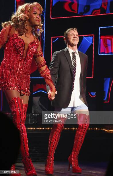 Harrison Ghee and Jake Shears of the rock group 'The Scissor Sisters' take the curtain call as Shears makes his Broadway debut in the hit musical...