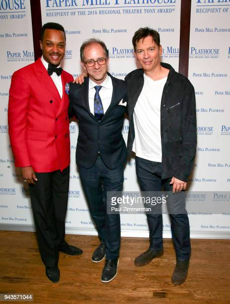 J Harrison Ghee John Rando and Harry Connick Jr attend 'The Sting' Opening Night at South Mountain Tavern on April 8 2018 in South Orange New Jersey
