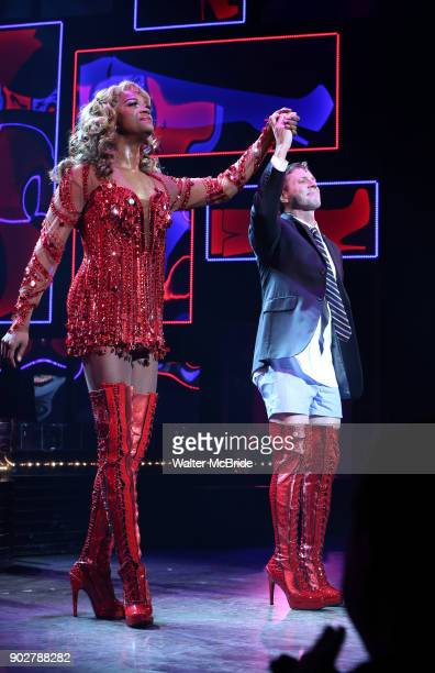J Harrison Ghee with Scissor Sisters frontman Jake Shears takes his curtain call bows during his Broadway Debut In 'Kinky Boots' at the Al Hirschfeld...