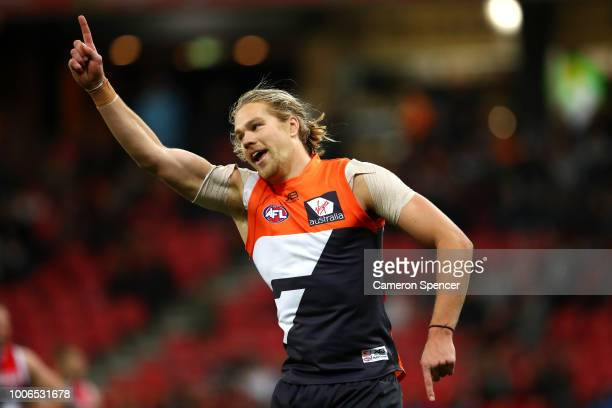 Harrison Himmelberg of the Giants celebrates kicking a goal during the round 19 AFL match between the Greater Western Sydney Giants and the St Kilda...