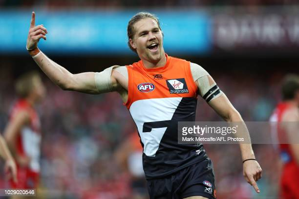 Harrison Himmelberg of the Giants celebrates kicking a goal during the AFL Second Elimination Final match between the Sydney Swans and the GWS Giants...