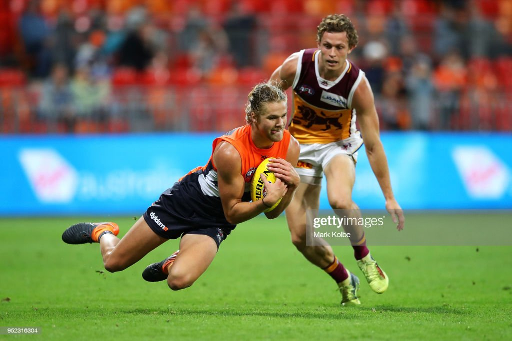 Harrison Himmelberg of the Giants takes a mark during the round six AFL match between the Greater Western Sydney Giants and the Brisbane Lions at Spotless Stadium on April 28, 2018 in Sydney, Australia.