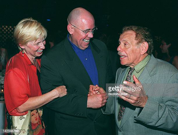 Harrison Houle, left, her husband, actor John Schuck, center, and actor Jerry Stiller attend a Nantucket Film Festival party on June 19, 1998.