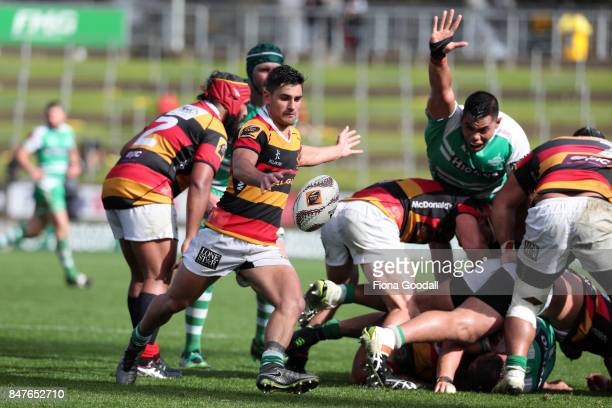 Harrison Levien of Waikato clears the ball from the scrum during the round five Mitre 10 Cup match between Waikato and Manawatu at FMG Stadium on...