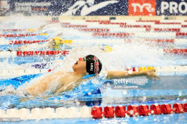 Harrison Lierz competes in the men's 100m backstroke prelims at the 2018 TYR Pro Series on July 8 2018 in Columbus Ohio