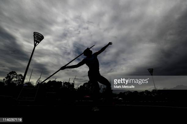 Harrison Lucas of NSW competes in the U17 Mens Javelin during the Australian Track and Field Championships at Sydney Olympic Park Athletic Centre on...