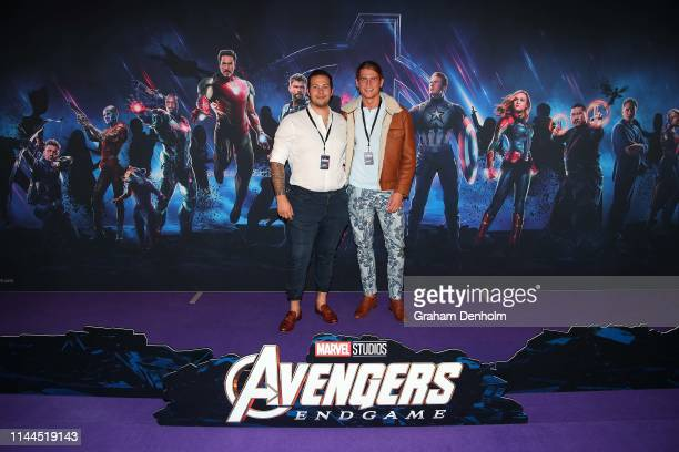 Harrison Luna and friend pose ahead of the special screening of Marvel Studios' Avengers Endgame at IMAX Melbourne Museum on April 23 2019 in...