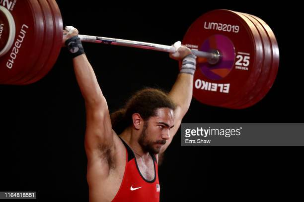 Harrison Maurus of the United States competes in the men's weightlifting 81kg competition on Day 2 of the Lima 2019 Pan American Games at Mariscal...