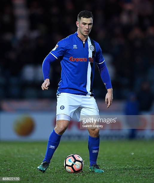 Harrison McGahey of Rochdale during the Emirates FA Cup Fourth Round match between Rochdale and Huddersfield Town at Spotland Stadium on January 28...