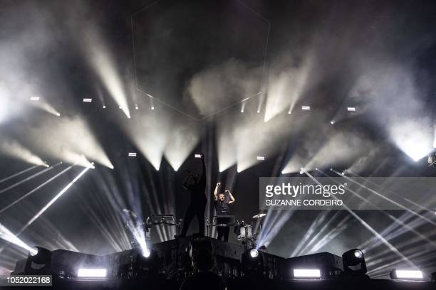 Harrison Mills and Clayton Knight of the US band Odesza perform during weekend two of the ACL Music Festival at Zilker Park in Austin on October 12,...