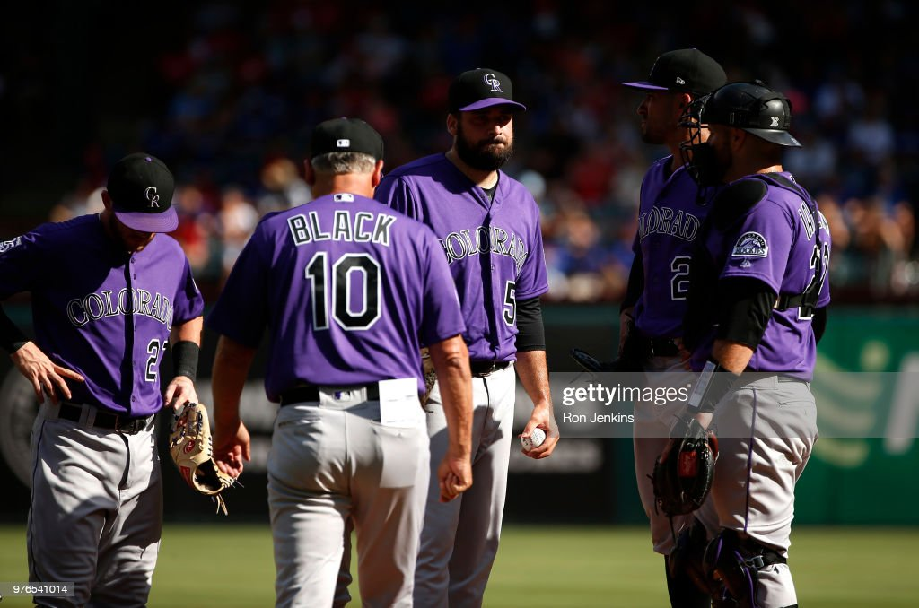 Harrison Musgrave #59 of the Colorado Rockies waits to be relieved by manager Bud Black #10 as the Rockies play the Texas Rangers during the eighth inning at Globe Life Park in Arlington on June 16, 2018 in Arlington, Texas. The Rangers won 5-2.