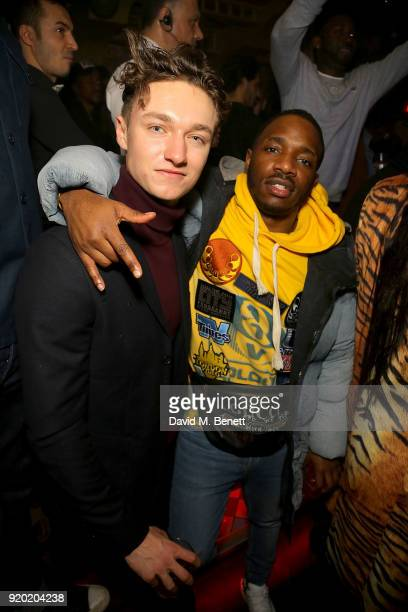 Harrison Osterfield and Konan attend The Box's 7th Birthday with lovebullets in partnership with Belvedere Vodka at The Box on February 18 2018 in...