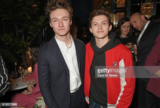 Harrison Osterfield and Tom Holland attend the InStyle EE Rising Star Party at Granary Square on February 6 2018 in London England