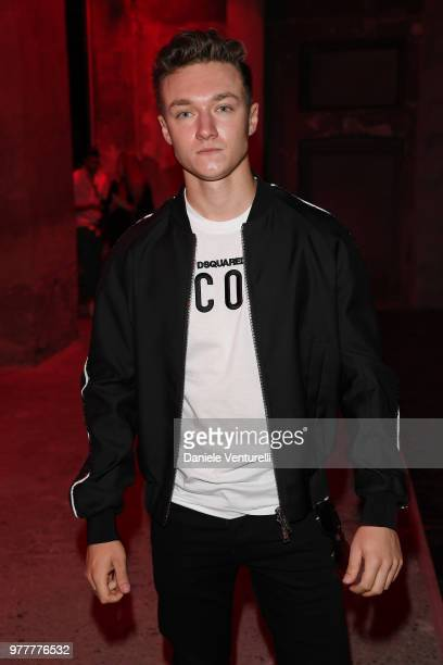 Harrison Osterfield attends Dsquared2 show during Milan Men's Fashion Spring/Summer 2019 on June 17 2018 in Milan Italy
