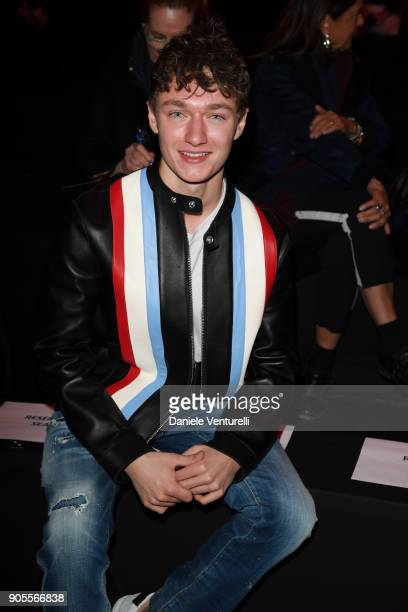 Harrison Osterfield attends the Dsquared2 show during Milan Menswear Fashion Week Fall/Winter 2018/19 on January 14 2018 in Milan Italy