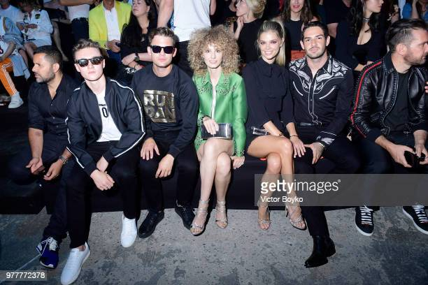 Harrison Osterfield guest Esther Acebo Danielle Knudson and Alexandre Pato attend Dsquared2 show during Milan Men's Fashion Spring/Summer 2019 on...