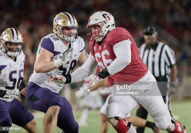 Harrison Phillips of the Stanford Cardinal plays in an NCAA Pac12 football game against the University of Washington Huskies on November 10 2017 at...