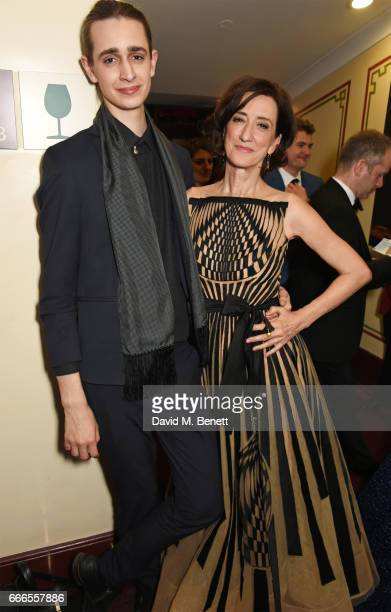 Harrison Phipps and Haydn Gwynne pose in the winners room at The Olivier Awards 2017 at Royal Albert Hall on April 9 2017 in London England