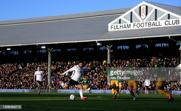 Harrison Reed of Fulham shoots during the Sky Bet Championship match between Fulham and Preston North End at Craven Cottage on February 29, 2020 in...