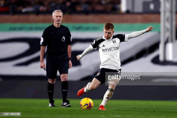 Harrison Reed of Fulham takes a free kick during the Premier League match between Fulham and Manchester United at Craven Cottage on January 20, 2021...