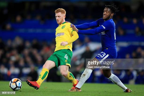 Harrison Reed of Norwich battles with Michy Batshuayi of Chelsea during The Emirates FA Cup Third Round Replay match between Chelsea and Norwich City...