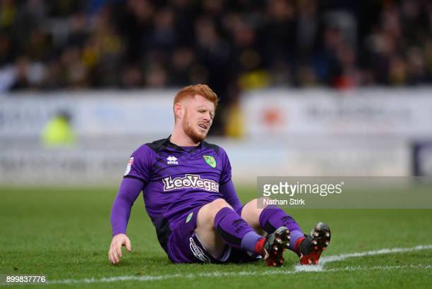 Harrison Reed of Norwich City goes down injured during the Sky Bet Championship match between Burton Albion and Norwich City at Pirelli Stadium on...