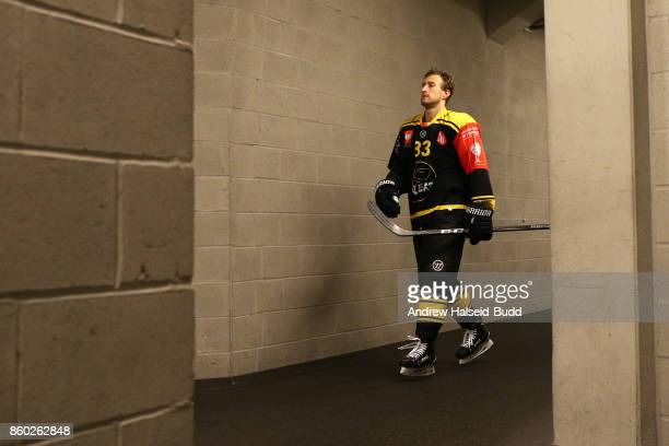 Harrison Reed of Stavanger Oilers makes his way to the arena before the Champions Hockey League match between Stavanger Oilers and KalPa Kuopioat at...