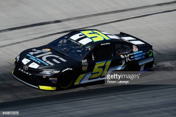 Harrison Rhodes driver of the Industrial Construction Experts Inc Chevrolet practices for the Monster Energy NASCAR Cup Series Food City 500 at...