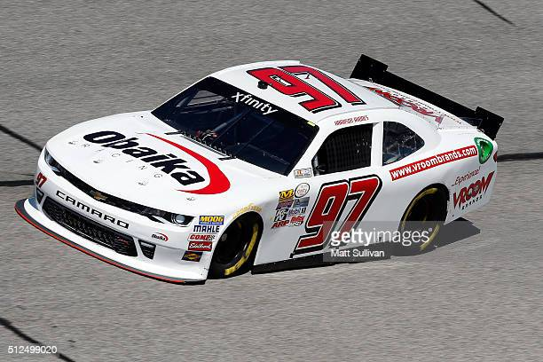 Harrison Rhodes driver of the VroomBrands Chevrolet practices for the NASCAR XFINITY Series Heads Up Georgia 250 at Atlanta Motor Speedway on...