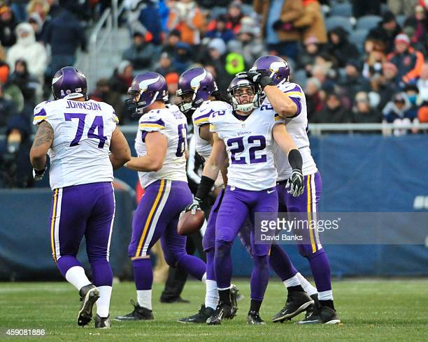 Harrison Smith of the Minnesota Vikings after intercepting a pass against the Chicago Bears during the third quarter on November 16 2014 at Soldier...