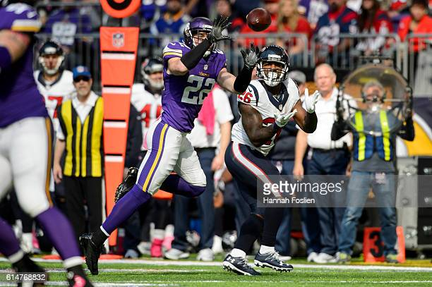 Harrison Smith of the Minnesota Vikings blocks a pass intended for Lamar Miller of the Houston Texans during the game on October 9 2016 at US Bank...