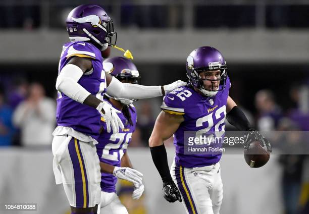 Harrison Smith of the Minnesota Vikings celebrates after intercepting Drew Brees of the New Orleans Saints in the second quarter of the game at US...