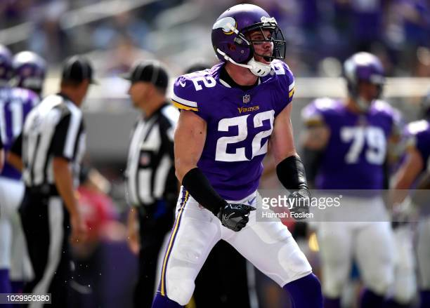 Harrison Smith of the Minnesota Vikings celebrates after recovering a fumbled ball in the second quarter of the game against the San Francisco 49ers...